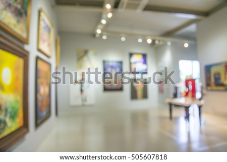 Abstract blur contemporary art gallery background #505607818
