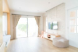 abstract blur curtain interior decoration in living room with sunlight