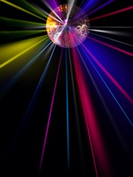 abstract blur disco light ball on black  for party background