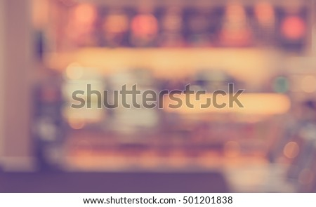 Abstract blur food counter service or cafe in food court  for background usage . (vintage tone) #501201838