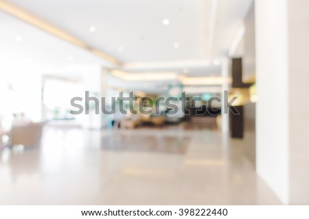 Abstract blur hotel lobby and hotel restaurant interior for background - Vintage light Filter