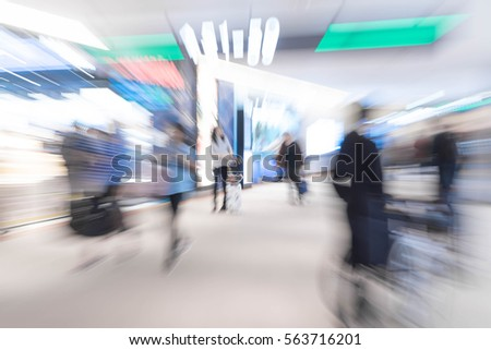 abstract blur in airport  for background - blue white balance processing style #563716201