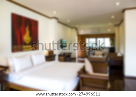 Abstract blur Interior of modern comfortable hotel room