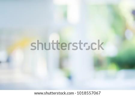abstract blur of modern interior building corridor background for presentation design element concept