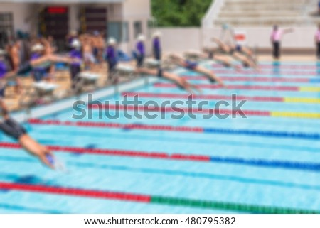 Abstract blur outdoor swimmer at swimming pool