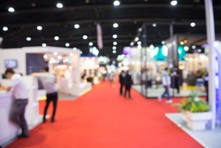 Abstract blur people in exhibition hall event trade show background