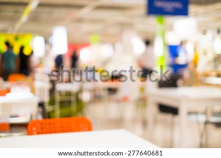 Abstract blur people in Furniture store for background