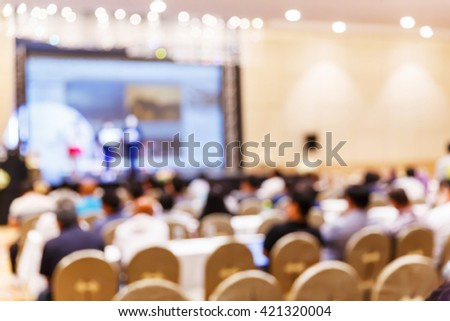 Abstract blur people in press conference meeting, new product launching, business event concept #421320004