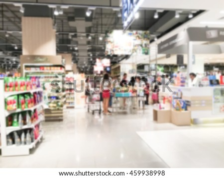 Abstract blur supermarket retail and shopping mall interior for background