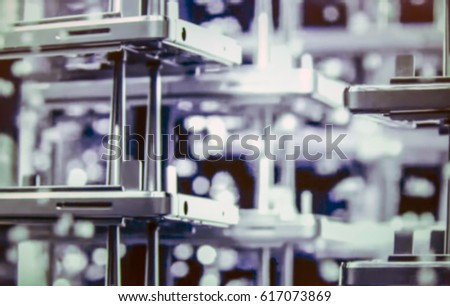 Abstract, blurred, bokeh background, image for the background. Factory for production of mobile phones.