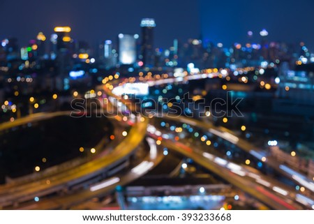 Abstract blurred bokeh lights, city elevated road night view #393233668