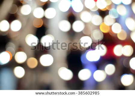 Abstract blurred bokeh of traffic night in big city. #385602985