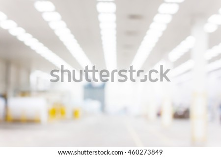 Abstract blurred factory and warehouse room background for industry