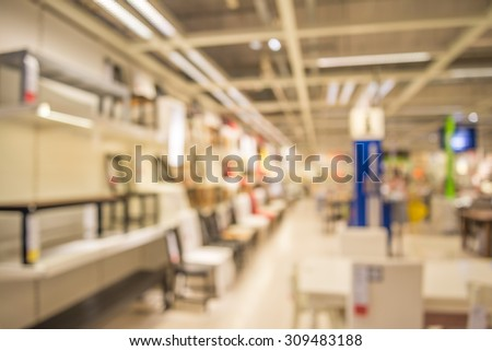 Abstract blurred furniture store background