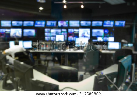 abstract blurred image against television studio