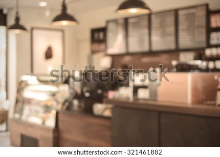 Abstract blurred image bar and counter in coffee shop, Vintage tone #321461882