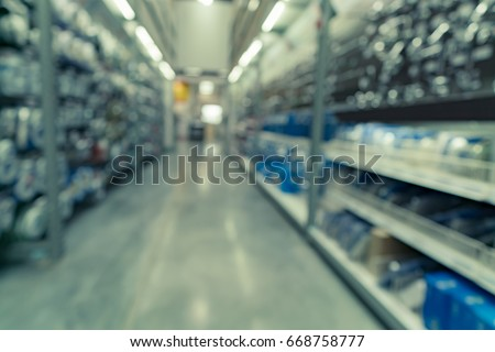 Abstract blurred image of Building materials shop store, hardware shop for background usage #668758777