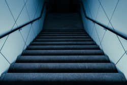 Abstract blurred image of Downstairs to dark, horror concept