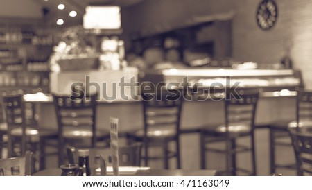 Abstract Blurred Japanese Restaurant Interior In Houston, Texas, US With  Empty Table Sets And