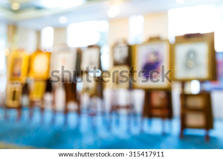 Abstract blurred masterpiece creation in art gallery, exhibition show