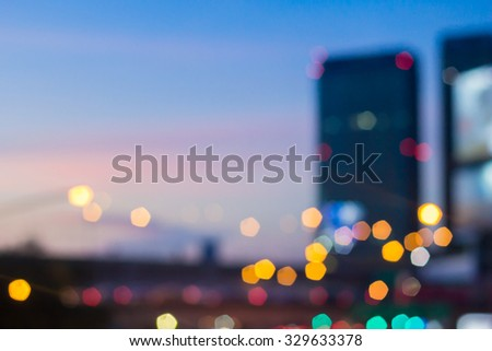 Abstract blurred night city background with circle light. blur backgrounds concept:blur of cityspace in sunset hour wallpaper concept:blurry night urban backdrop.blurred city