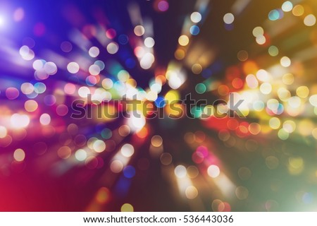 abstract blurred of blue and silver glittering shine bulbs lights background:blur of Christmas wallpaper decorations concept.xmas holiday festival backdrop:sparkle circle lit celebrations display. #536443036