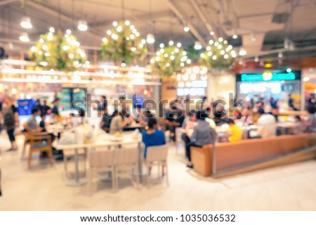 Abstract blurred of food court in department store.