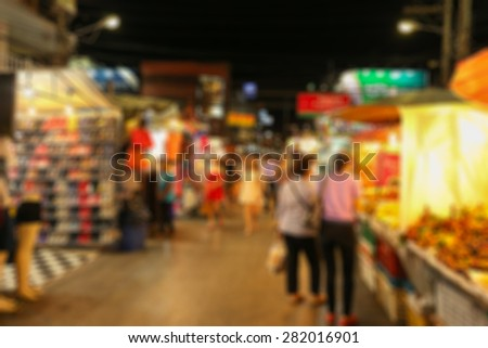 Abstract blurred  of Hua Hin Night Market famous place for a seafood dinner and buy Souvenir.