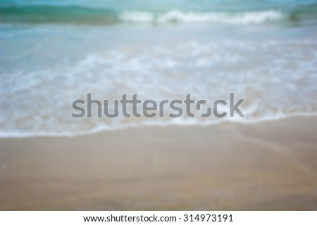 Abstract blurred of sea and beach backgrounds : blur of sea on  summer vacation relaxing : blur of wave on the beach : blur backgrounds concept.summer concept.vacation time concept.