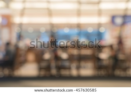 abstract blurred people in food and coffee shop for background #457630585