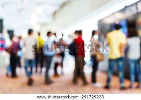 Abstract blurred people in press conference event, business concept