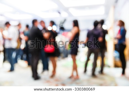 Abstract blurred people in press conference room, business concept, official new product launches #330380069