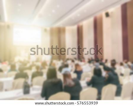 Abstract blurred people lecture in seminar room, education concept #576553939