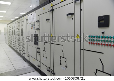 Abstract blurred photo of Low voltage switch gear substation in industrial plant