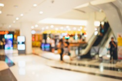 Abstract blurred photo of shopping zone background,Blurred of people walking in shopping mall:blur of department store indoors,blurred of shopping mall.vacation weekend day