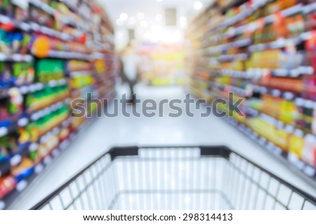 Abstract blurred photo of store with trolley in department store bokeh background #298314413