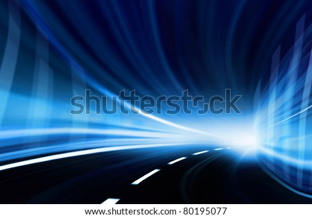 Abstract blurred speed motion in a blue urban highway tunnel, moving toward the light. Computer generated illustration.