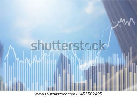 Abstract Blurred Stock market chart in modern building city sky, concept for stock trading and financial markets