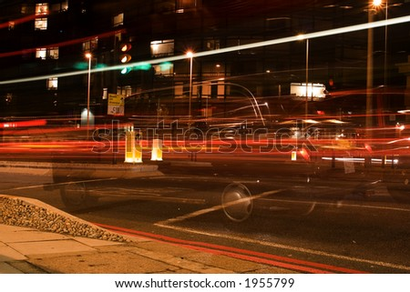 Abstract blurry car lights at night