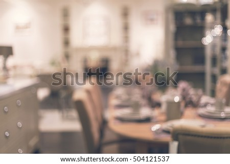 Abstract blurry image of dining room interior in luxury home, Vintage tone