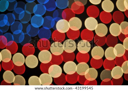 Abstract Bokeh American Flag Background on black.
