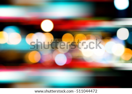 Abstract bokeh and motion light background. Made from heavy traffic jam in Bangkok - Shutterstock ID 511044472