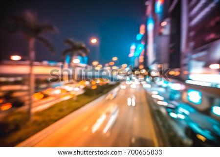 Abstract bokeh city light at night #700655833