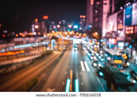 Abstract bokeh city light at night #700656058