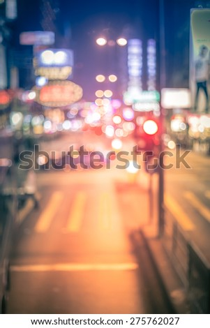 Abstract bokeh city night background with vintage color tone tuned #275762027