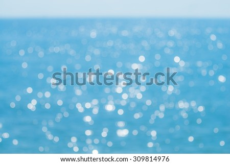 Abstract bokeh of sunlight reflect from ocean surface. Blue filter.