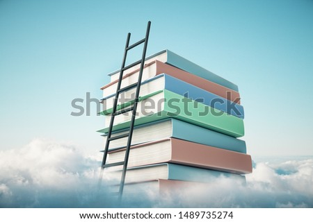 Abstract book stack with ladder on sky with clouds background. Education and growth concept. 3D Rendering