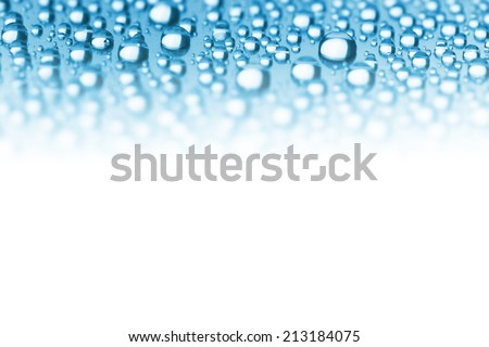 Abstract Border of Blue Water Drops - soft focus on the center, copy space for text