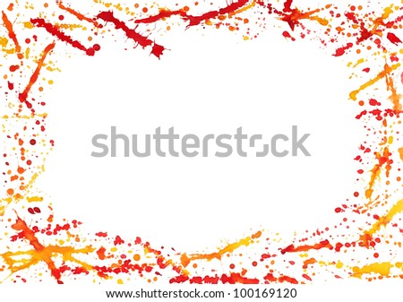Abstract border with colorful watercolor splashes isolated on white