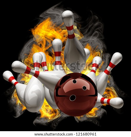 Abstract Bowling Ball crashing into the pins on fire. isolated black background. High resolution